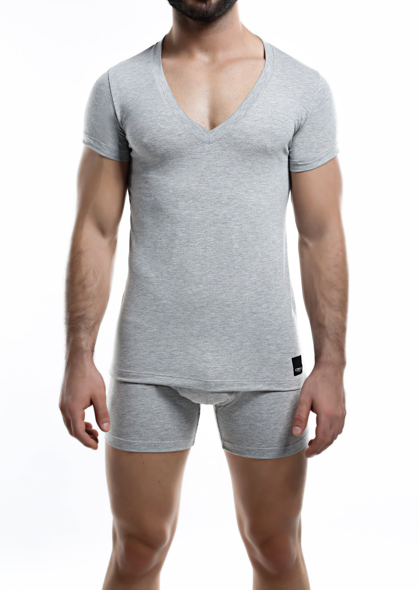 C4M Grey Deep V Neck Shirt