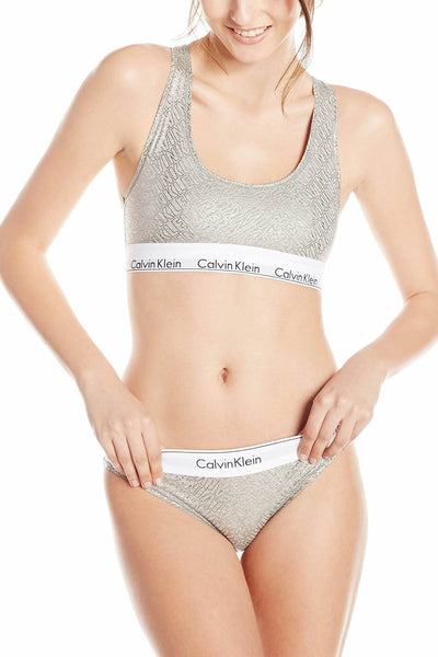 Calvin Klein Heather-Grey Logo Modern Bralette, Bikini & Hair Tie Set