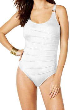 Calvin Klein Soft-White Starburst Scoop-Neck Textured One-Piece Swimsuit