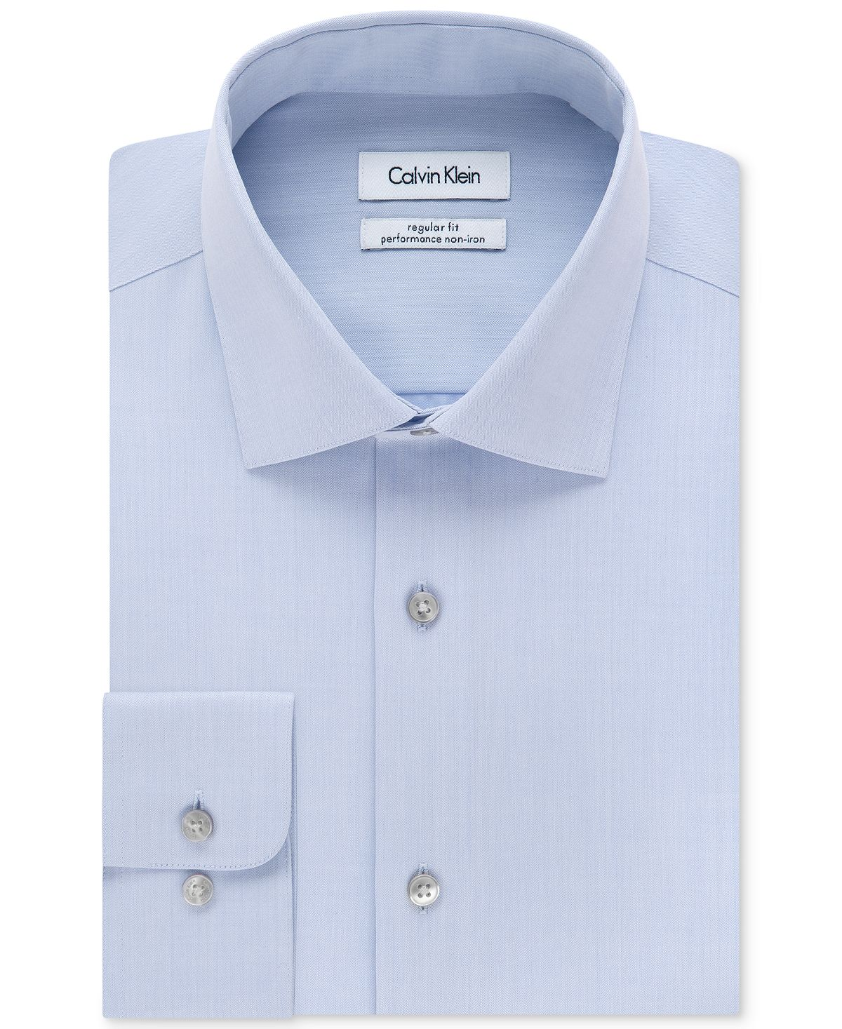 Calvin Klein Steel Big & Tall Classic-fit Non-iron Herringbone Dress Shirt Blue
