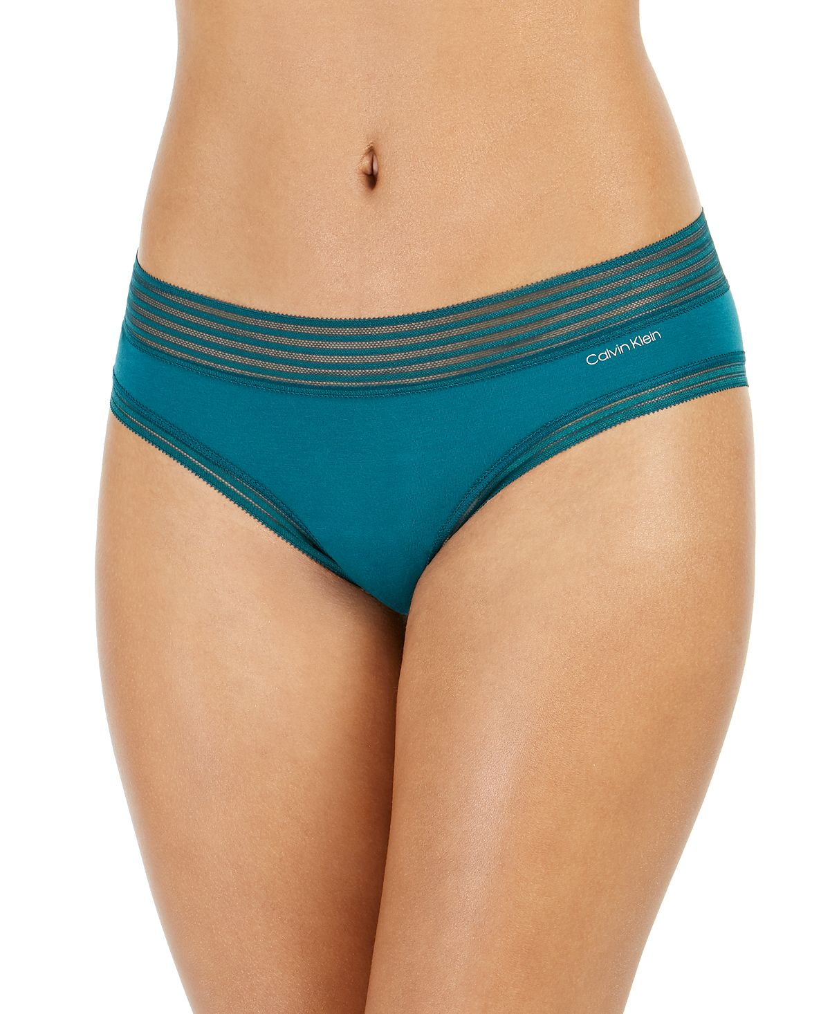 Calvin Klein Striped-waist Hipster Underwear Qd3672 Teal Diamond