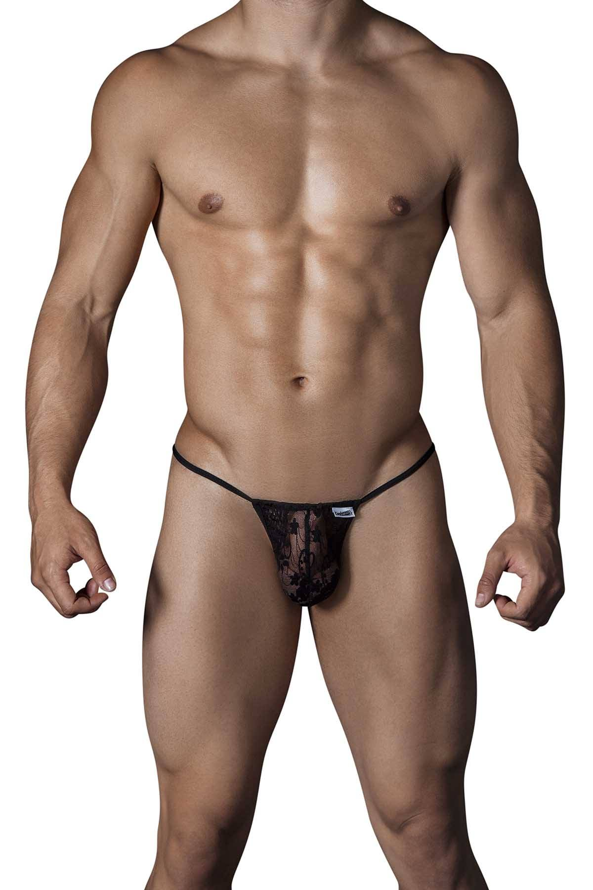 Candyman Black Lace String Thong