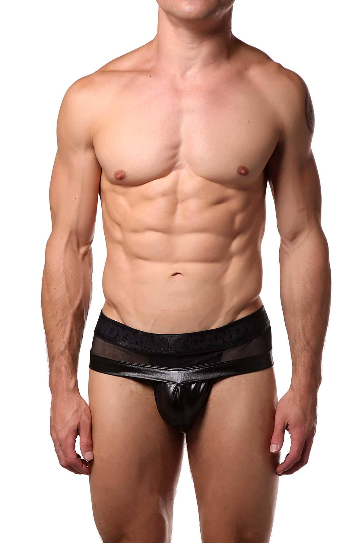Candyman Black Sheer/Wet-Look Brief