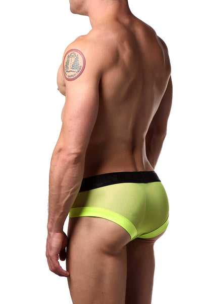 Candyman Neon-Yellow Sheer/Wet-Look Brief