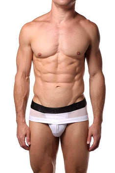 Candyman White Sheer/Wet-Look Brief
