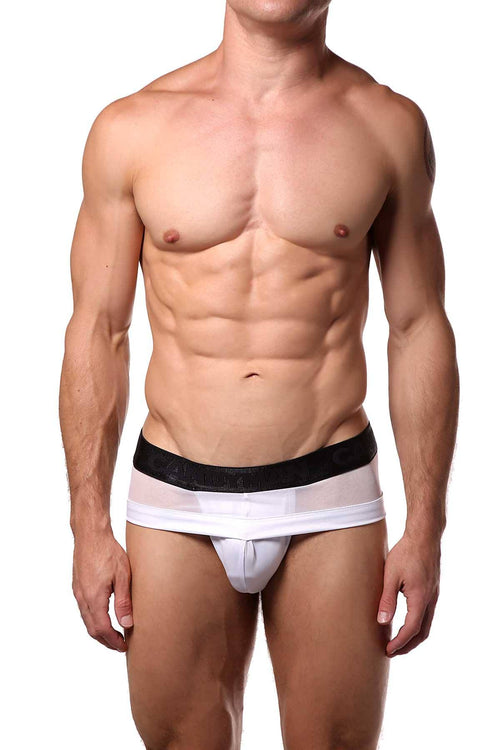 Candyman White Sheer/Wet-Look Brief - CheapUndies.com
