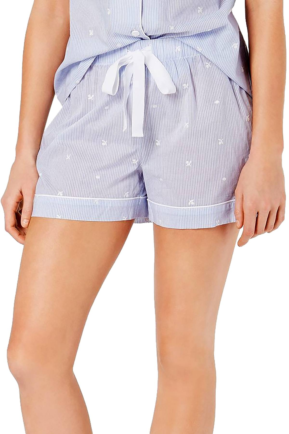 Charter Club Cotton Pajama Shorts in Embroidery Stripe Blue