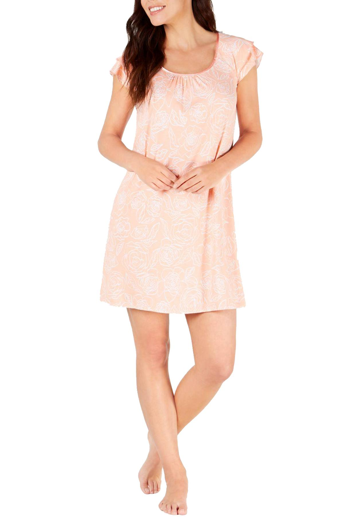Charter Club Flutter Sleeve Knit Nightgown in Coral Mist