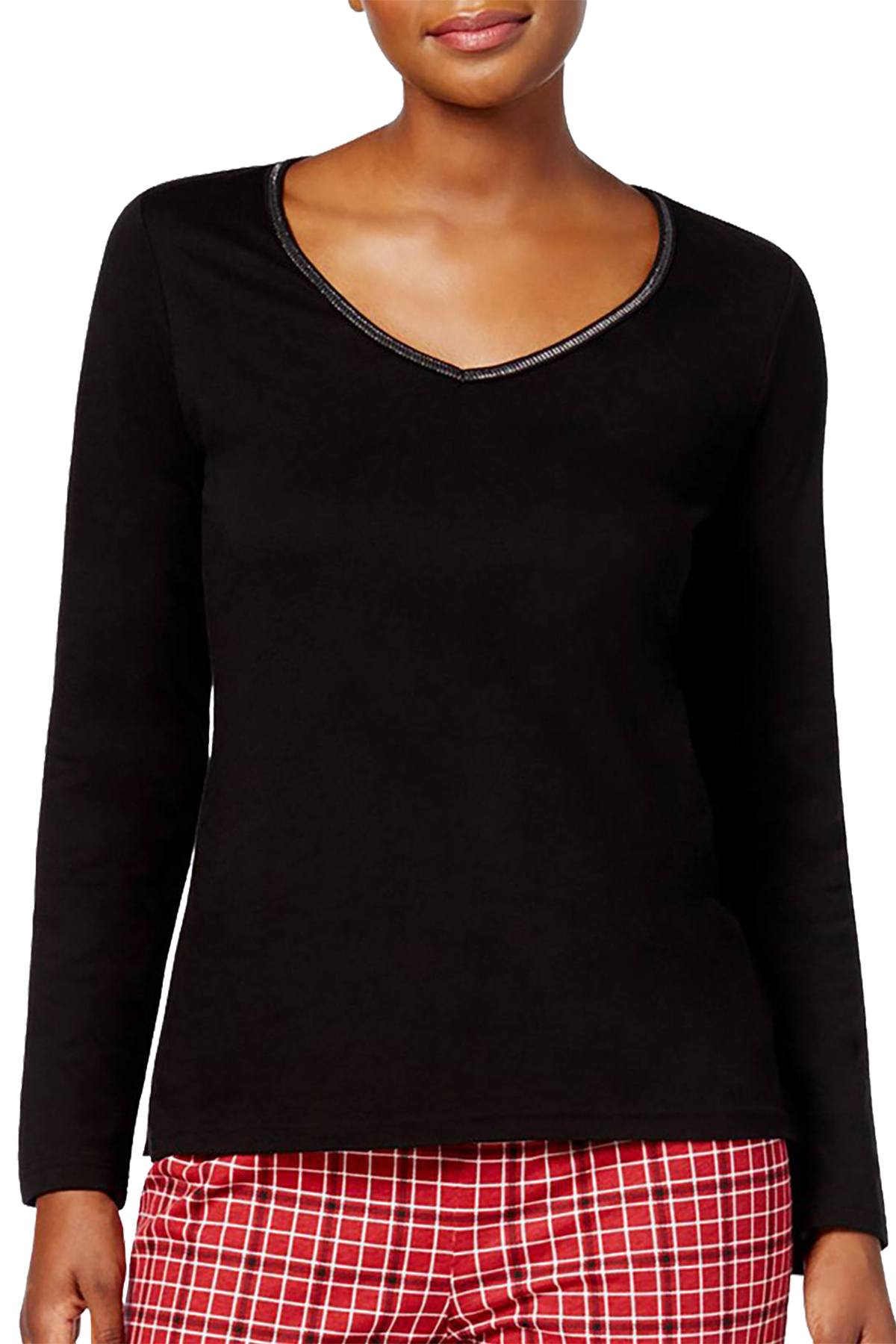 Charter Club Intimates Black Metallic-Trim Long-Sleeve Lounge Tee