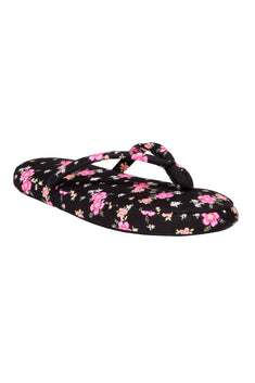 Charter Club Intimates Black/Pink Tropical Floral Printed Flip-Flop Slippers