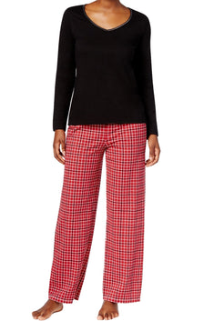 Charter Club Intimates Black Top & Red Small-Grid Plaid-Printed Pant PJ Set