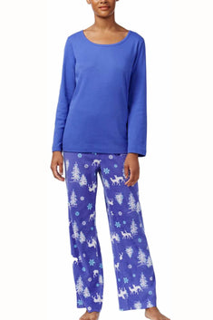 Charter Club Intimates Blue Forest Friends 2-Piece Long Sleeve Tee & Fleece Pajama Pant Set