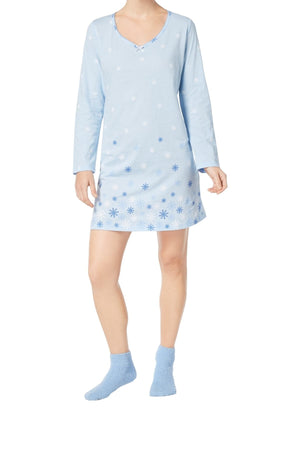 Charter Club Intimates Blue Snowflake Graphic-Print Cotton Sleepshirt With Matching Socks
