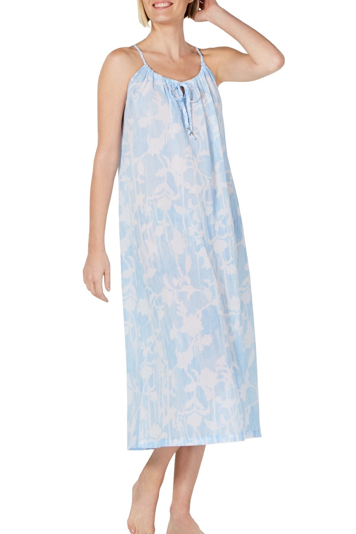 Charter Club Intimates Blue Watercolor Printed Cotton Nightgown
