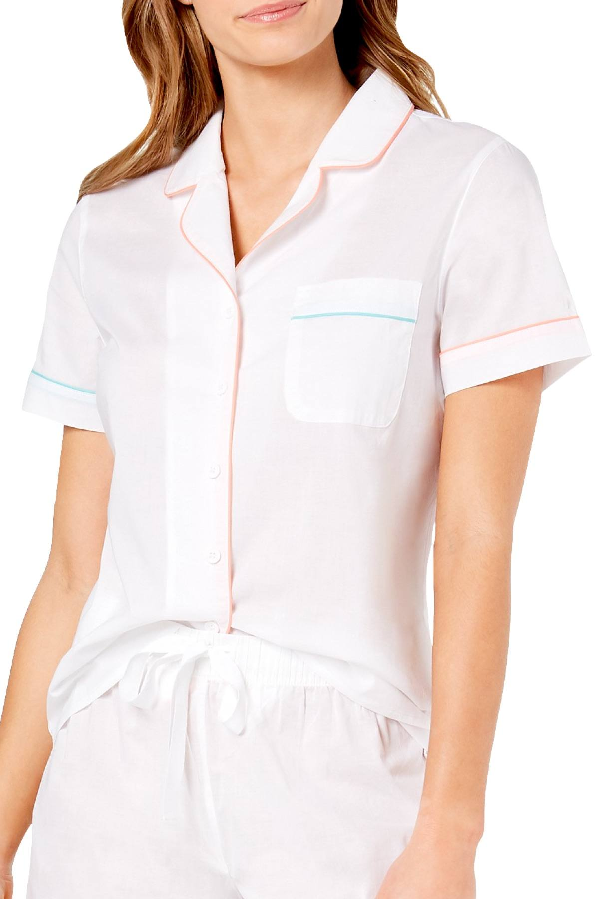 Charter Club Intimates Bright White Notch Collar Woven Cotton PJ Top