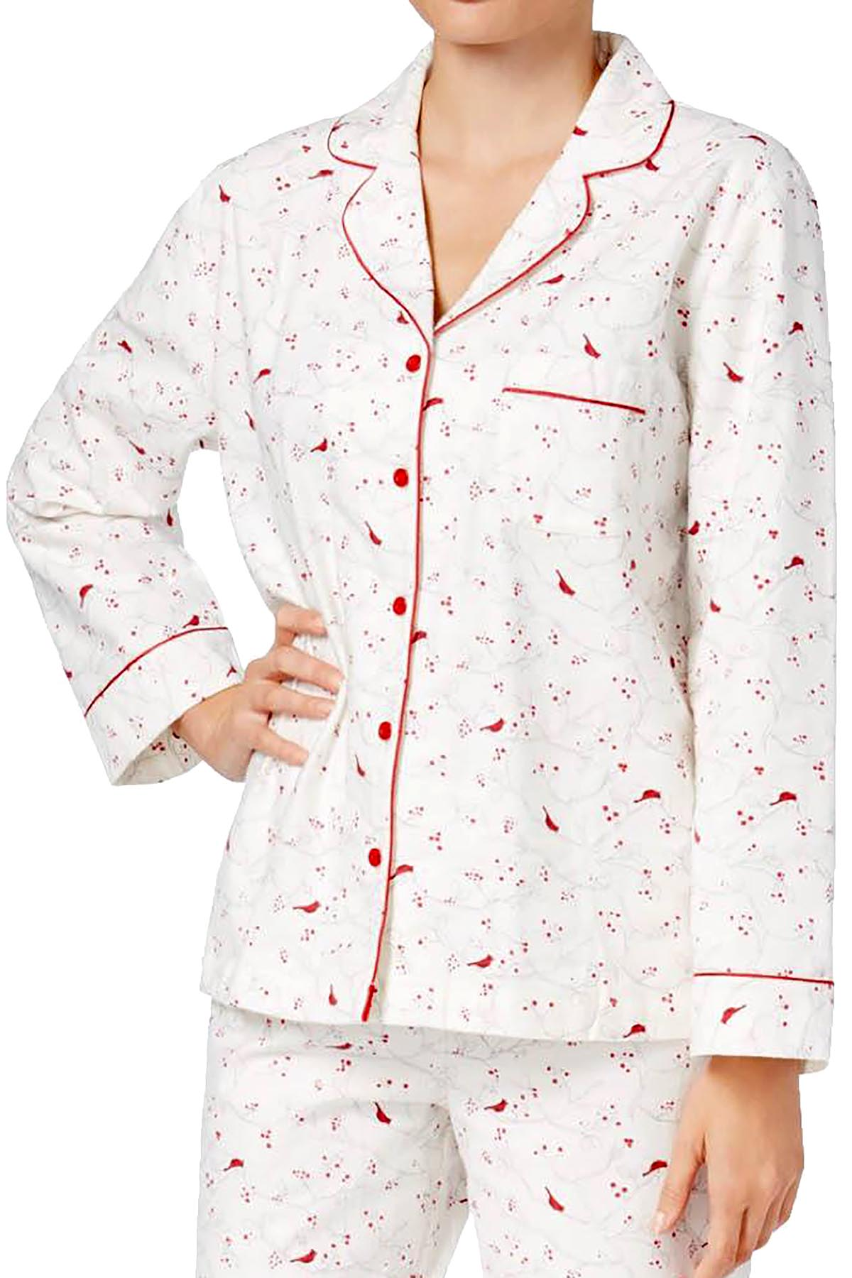 Charter Club Intimates Cardinal-Printed Cotton/Flannel Pajama Top