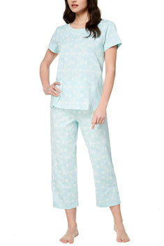 Charter Club Intimates Chain Stitch Print Cotton Knit Pajama Set