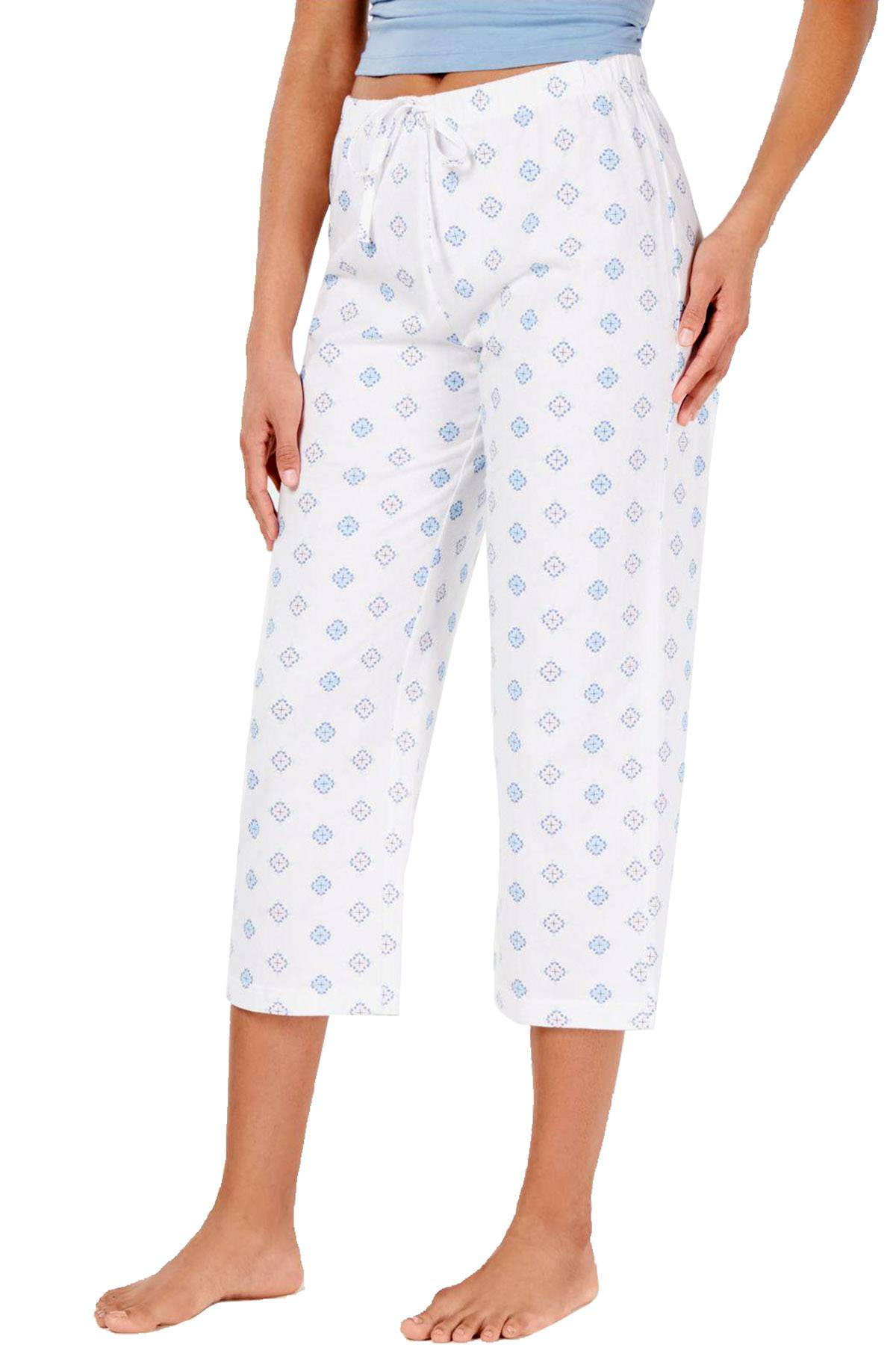 Charter Club Intimates Diamond Tile Art Printed Soft Knit Cropped Pajama Pant
