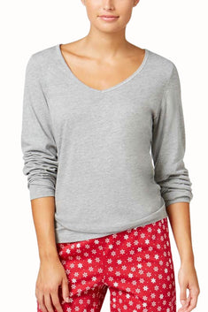 Charter Club Intimates Grey Long-Sleeve Lounge Tee