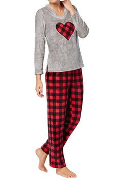 Charter Club Intimates Grey/Red Buffalo-Check Plush Applique PJ Set