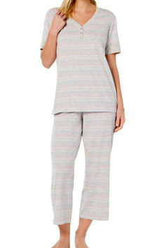 Charter Club Intimates Grey Variegated-Stripe Banded Cotton Pajama Set