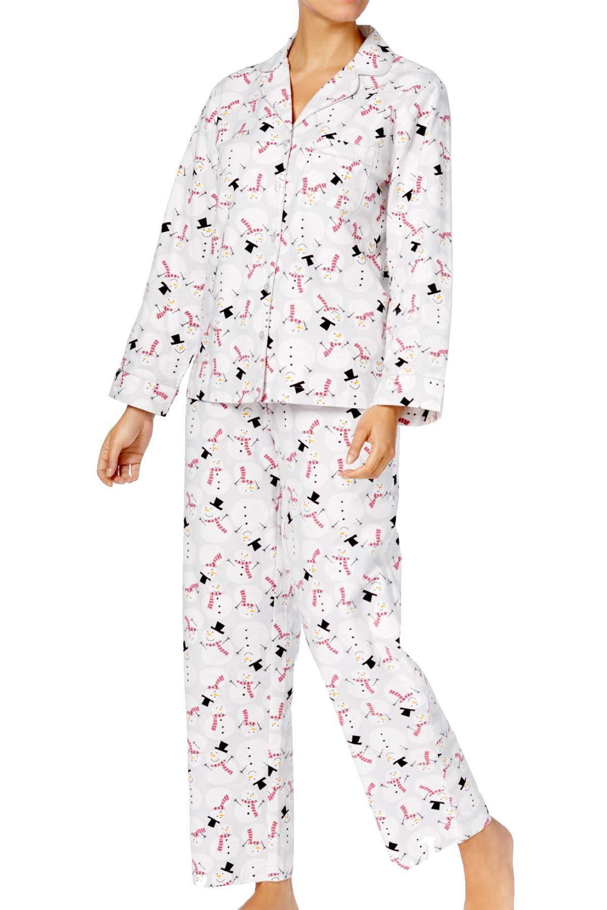 Charter Club Intimates Happy-Snowman Printed Cotton/Flannel Pajama Set