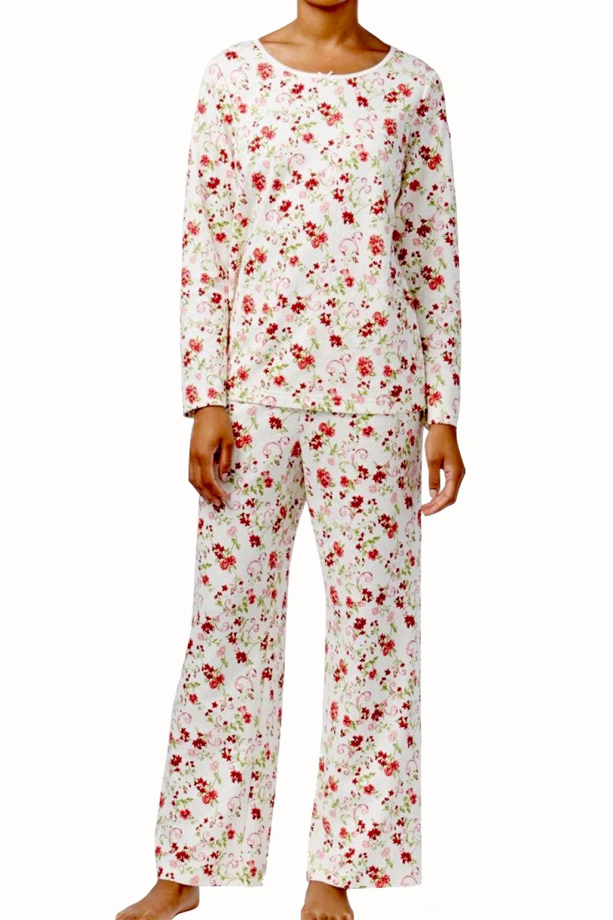 Charter Club Intimates Holiday-Floral Printed Knit PJ 2-Piece Set