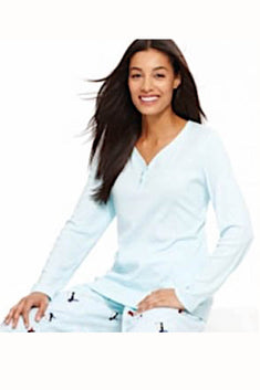Charter Club Intimates Light-Blue Henley Pajama Top