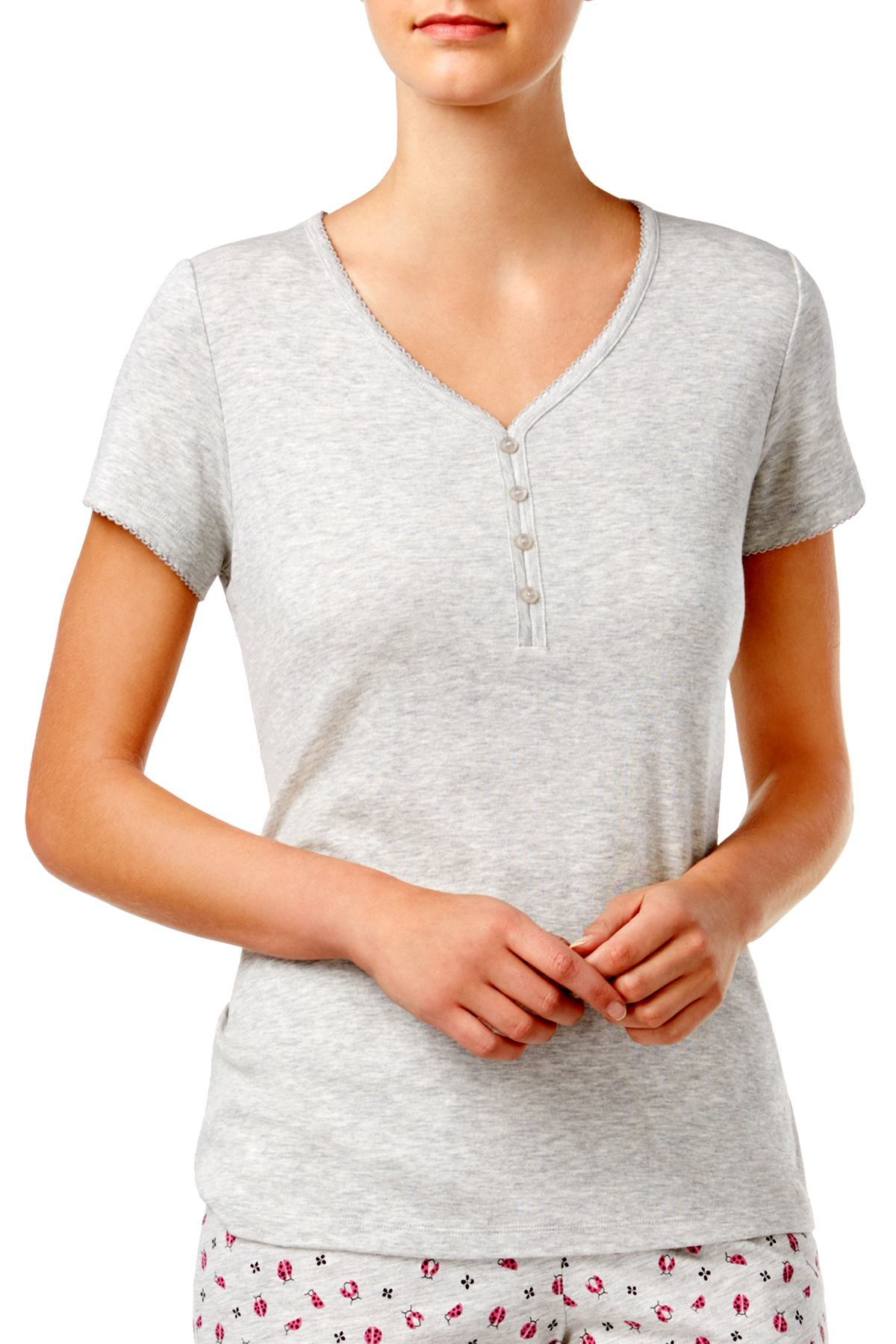 Charter Club Intimates Light Grey Heather V-Neck Tee