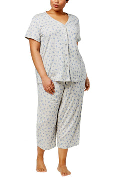 Charter Club Intimates PLUS Seashell Printed Picot-Trim Pajama Set