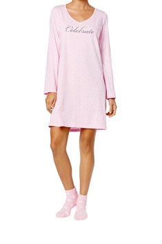 Charter Club Intimates Pink Celebrate Graphic-Print Cotton Sleepshirt With Matching Socks