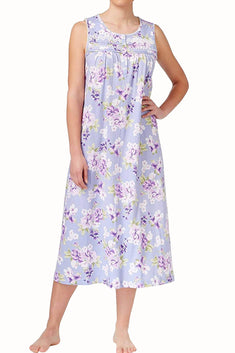 Charter Club Intimates Purple Floral Lace-Trimmed Embroidered Night Gown