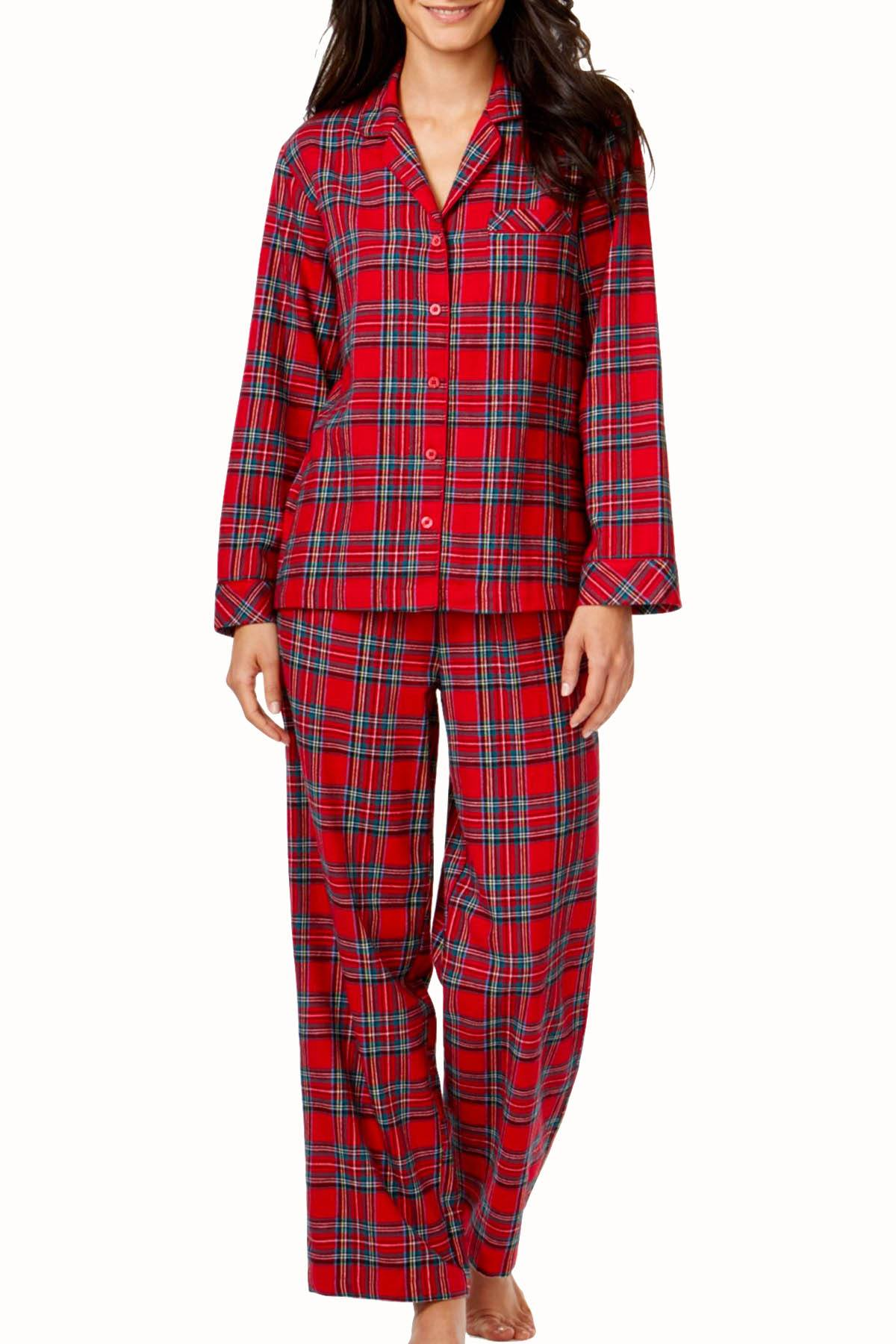 Charter Club Intimates Red Brinkley Plaid Pajama 2-Piece Set