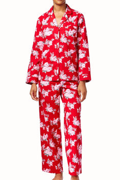 Charter Club Intimates Red/Pink Rose Printed Flannel PJ 2-Piece Set
