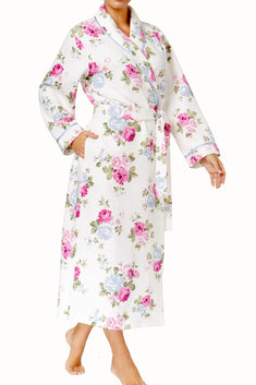 Charter Club Intimates Rose-Bouquet Quilted Satin-Trim Robe