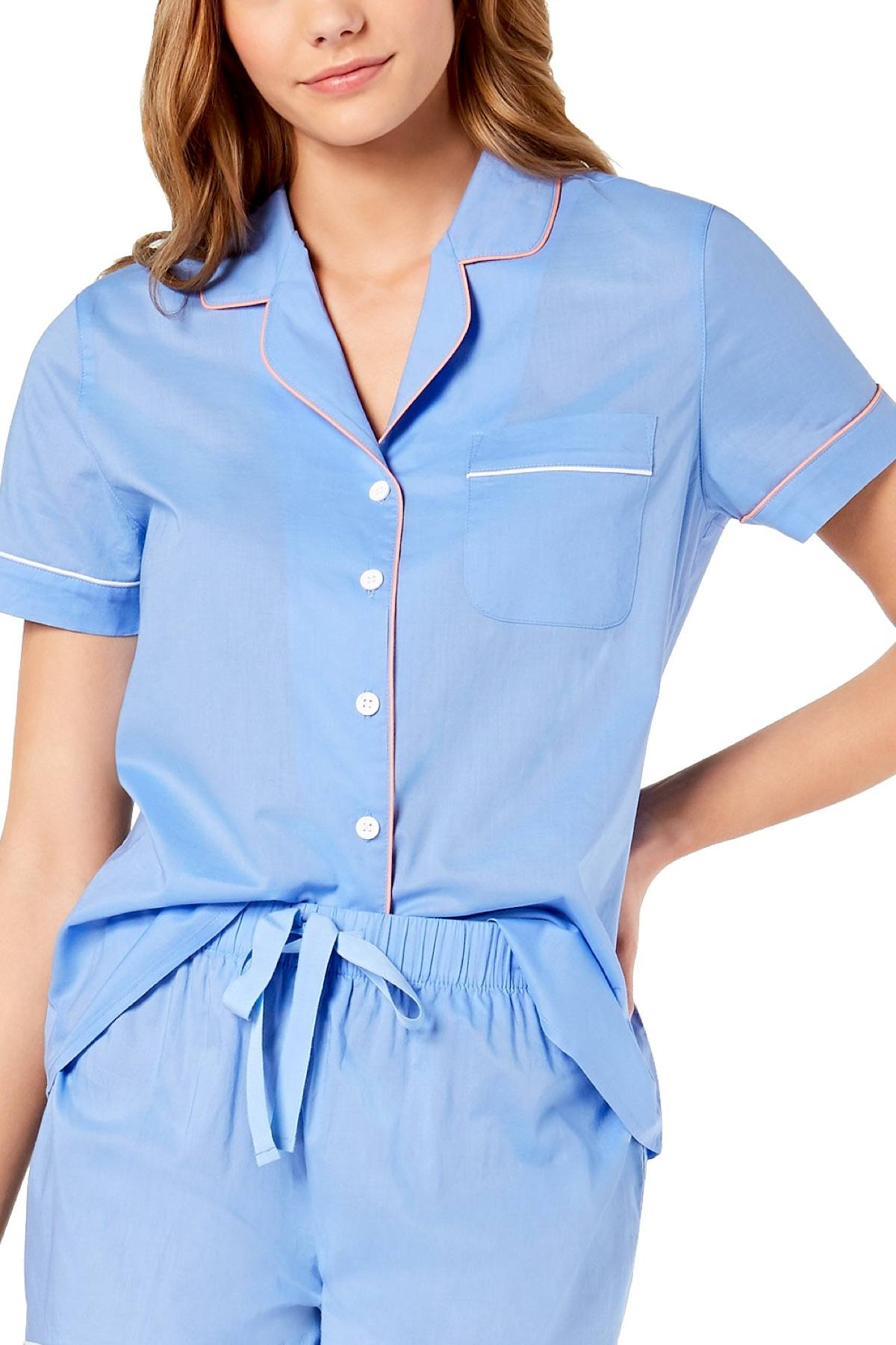 Charter Club Intimates Yacht Blue Notch Collar Woven Cotton PJ Top