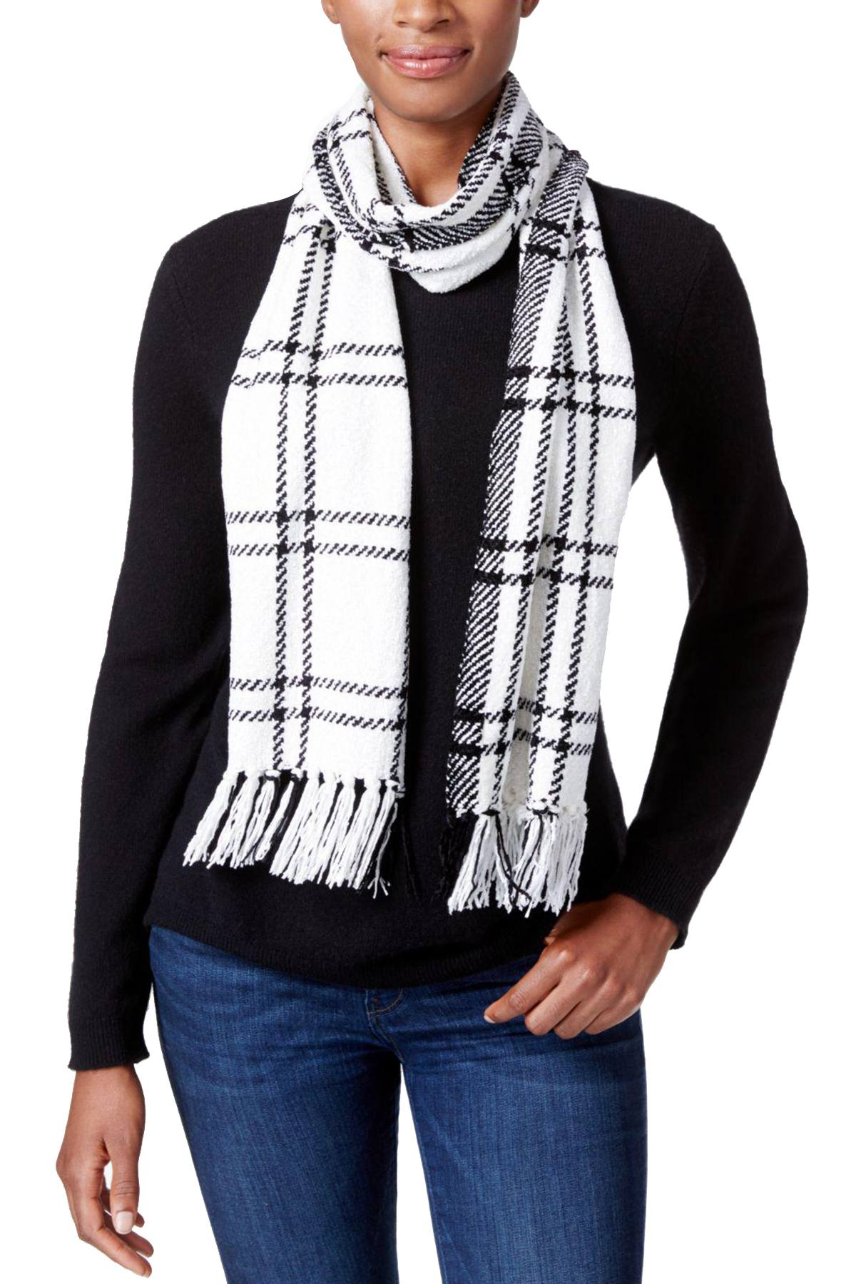 Charter Club Ivory/Black Windpine Woven Chenille Scarf