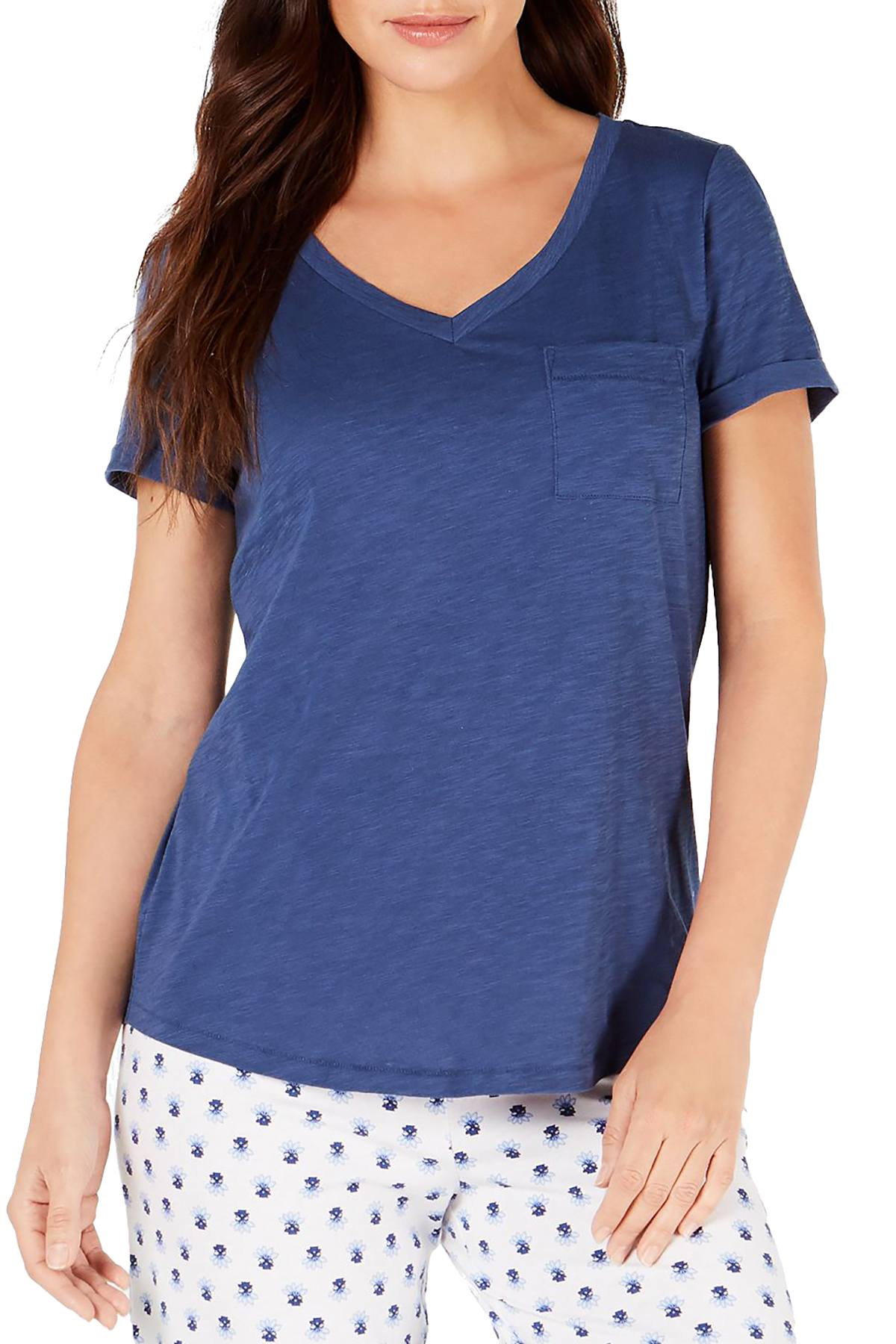 Charter Club Knit Lounge Tee in Galaxy Blue