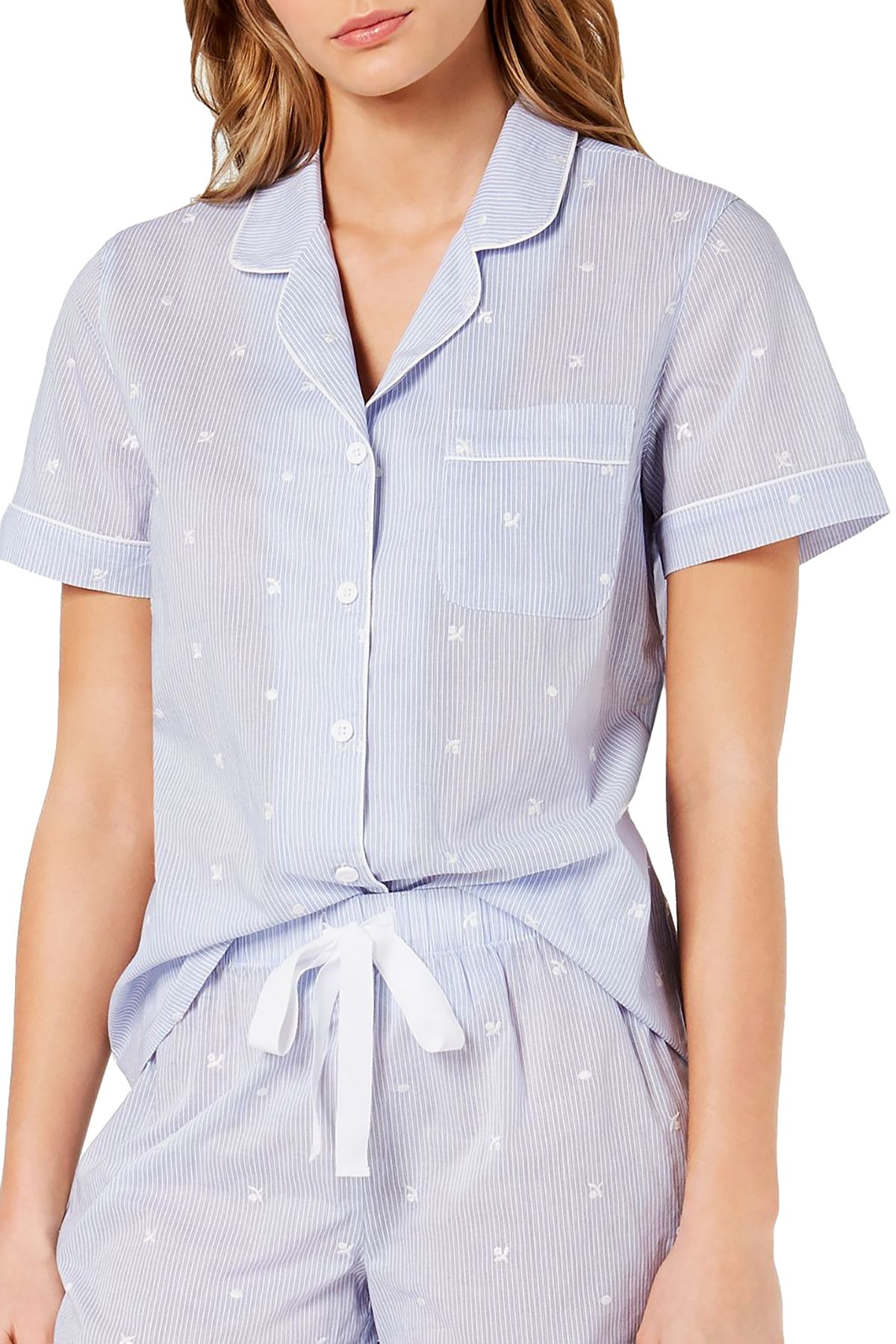 Charter Club Notch Collar Cotton Pajama Top in Embroidery Stripe Blue