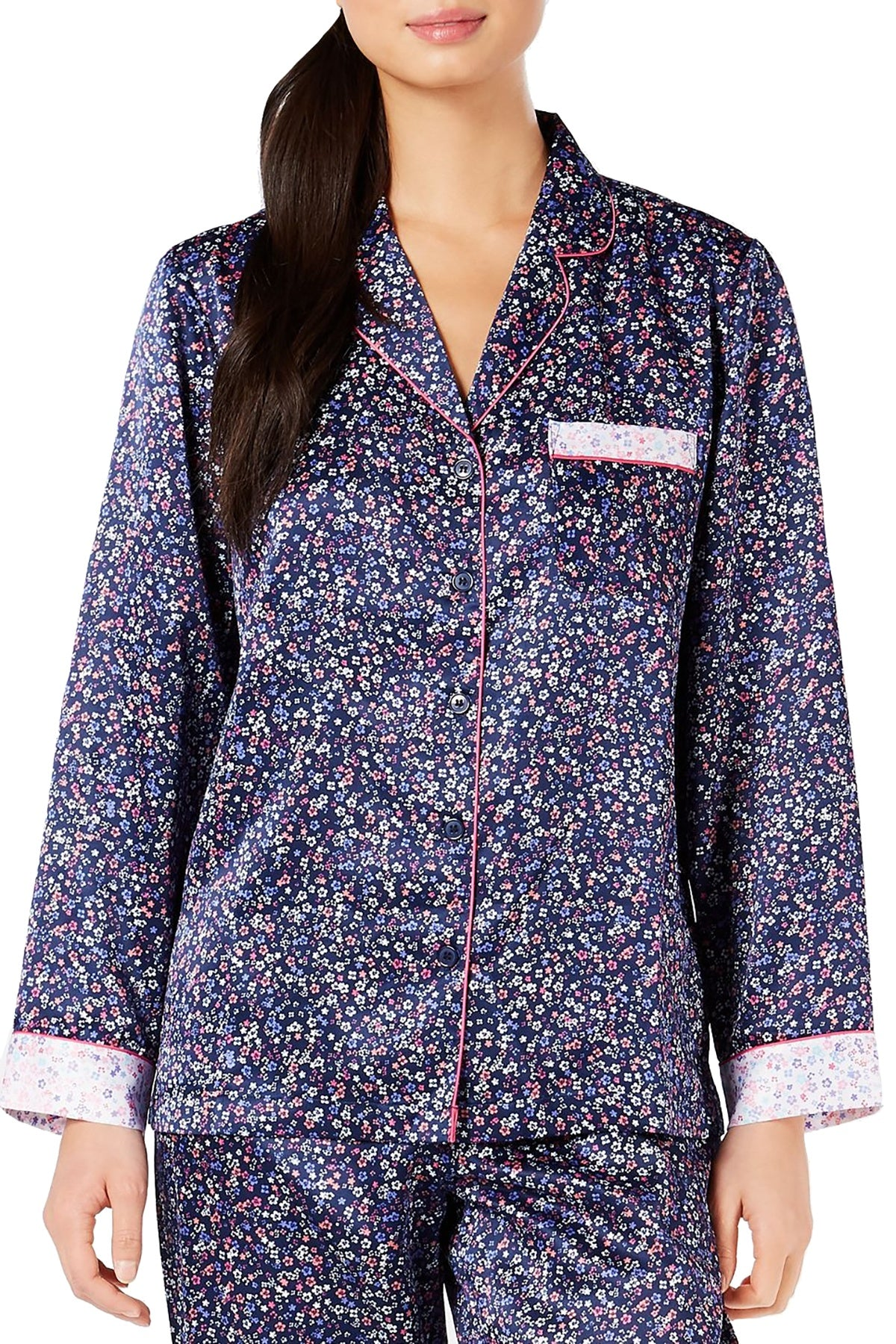 Charter Club Notch Collar Pajama Top in Mini Floral Navy