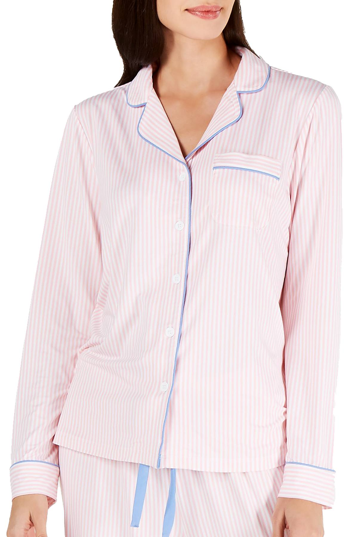 Charter Club Notch Collar Pajama Top in Ticking Stripe Pink