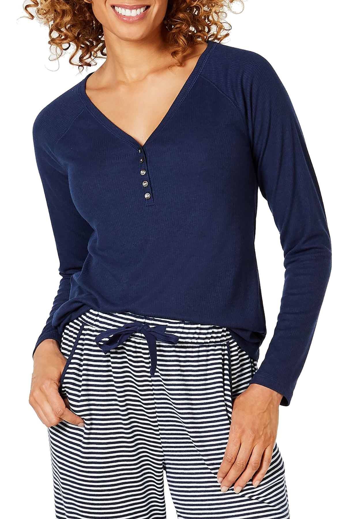 Charter Club Ribbed Knit Henley in Ink Blue