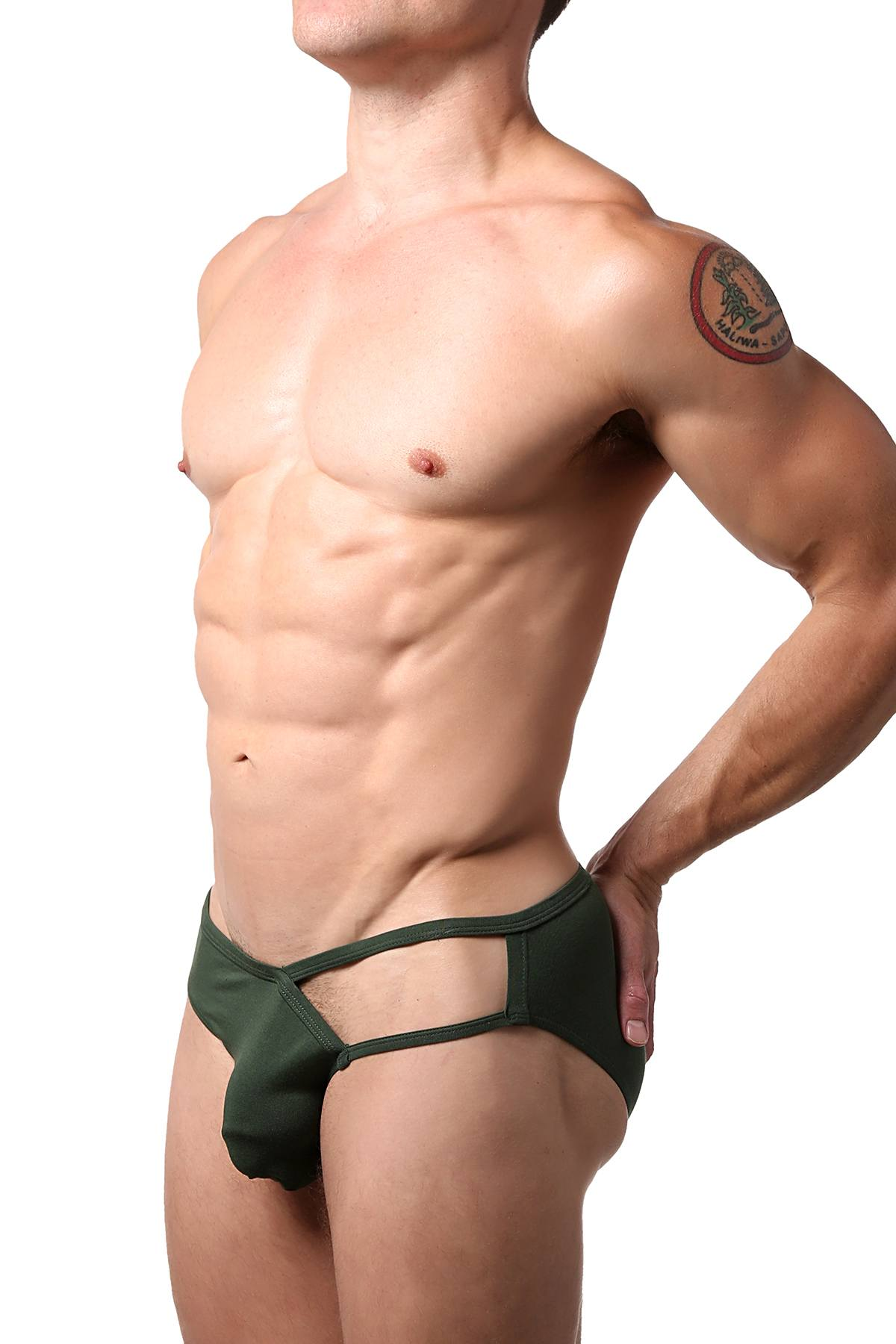 CheapUndies Dark Green Exposed Side Modal Brief