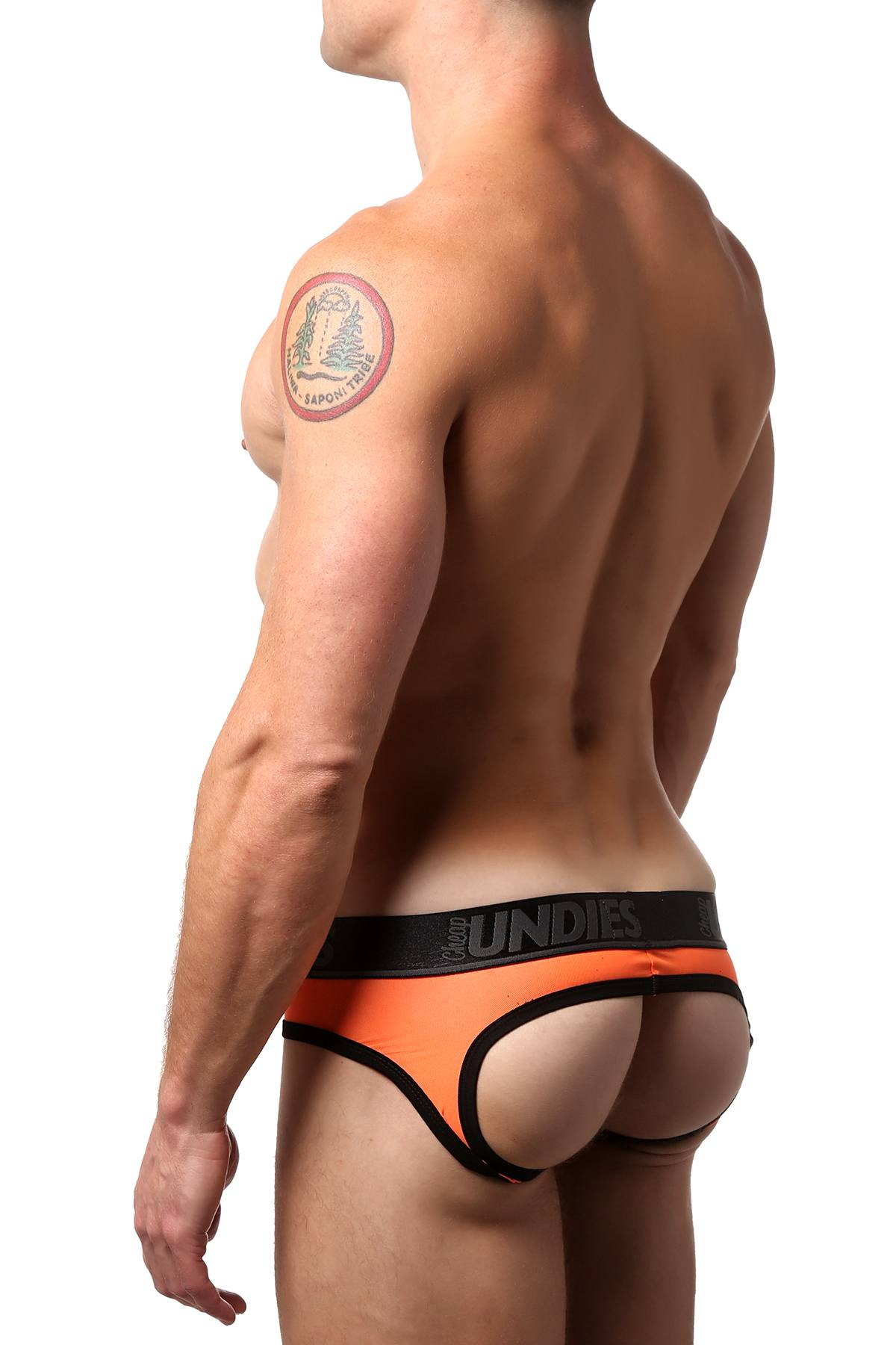 CheapUndies Neon Orange Exposed Mesh Jock Brief