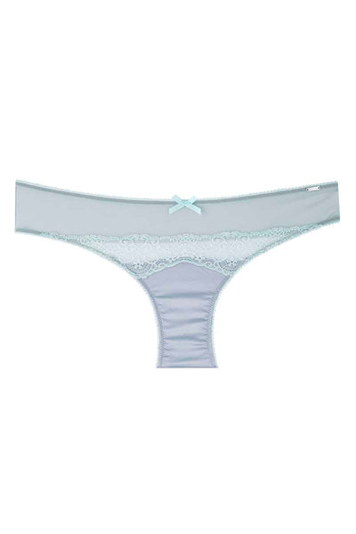 Christian Lacroix Pearl & Blue Glass Lace-Accent Satin Bikini