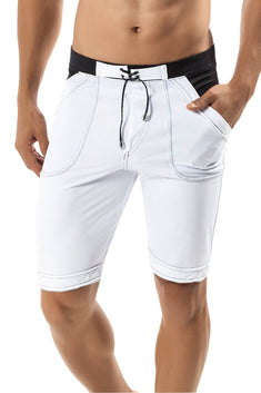 Clever White Guarulhos Long Swim Trunk
