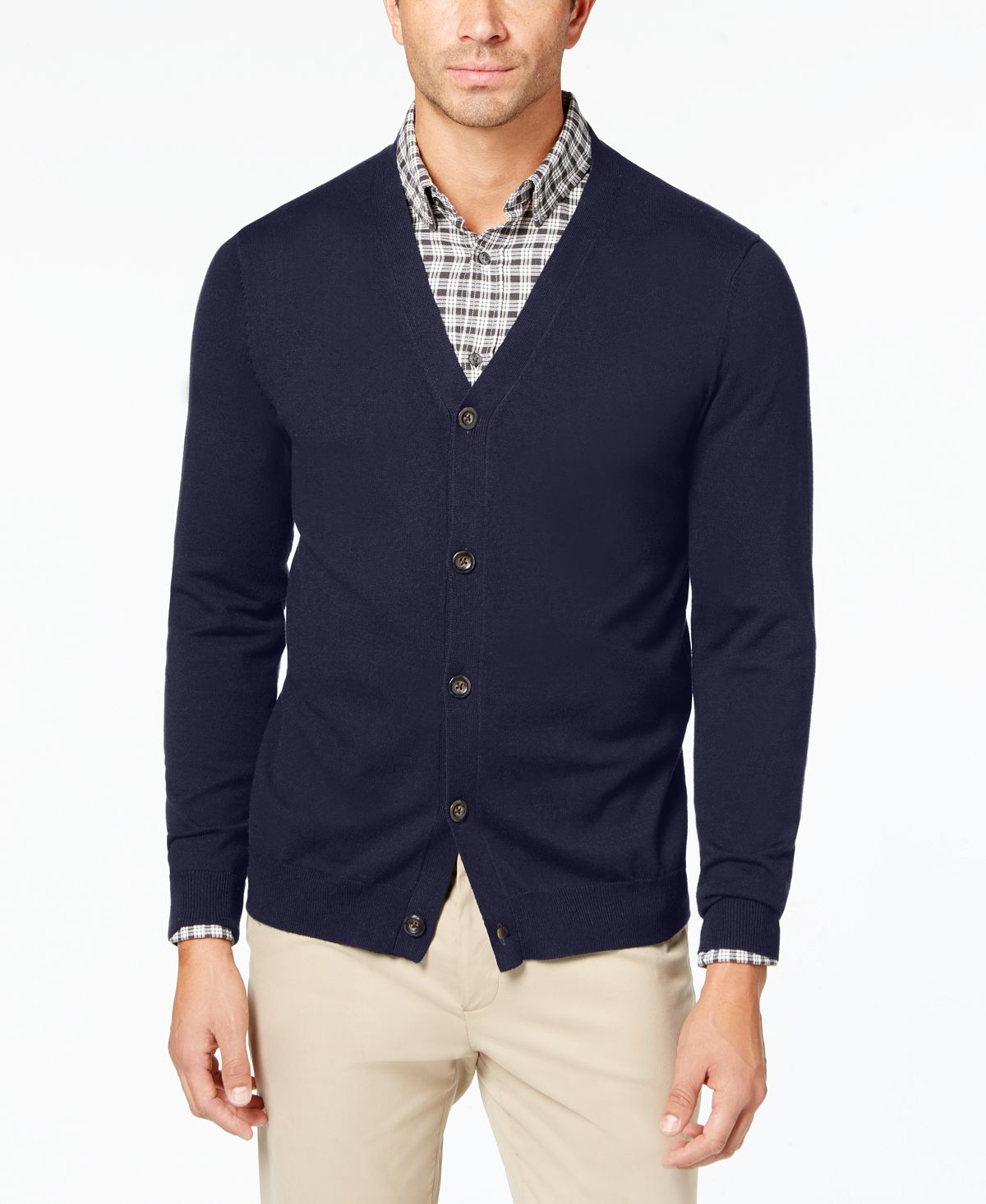 Club Room Knit V-neck Cardigan Navy Blue