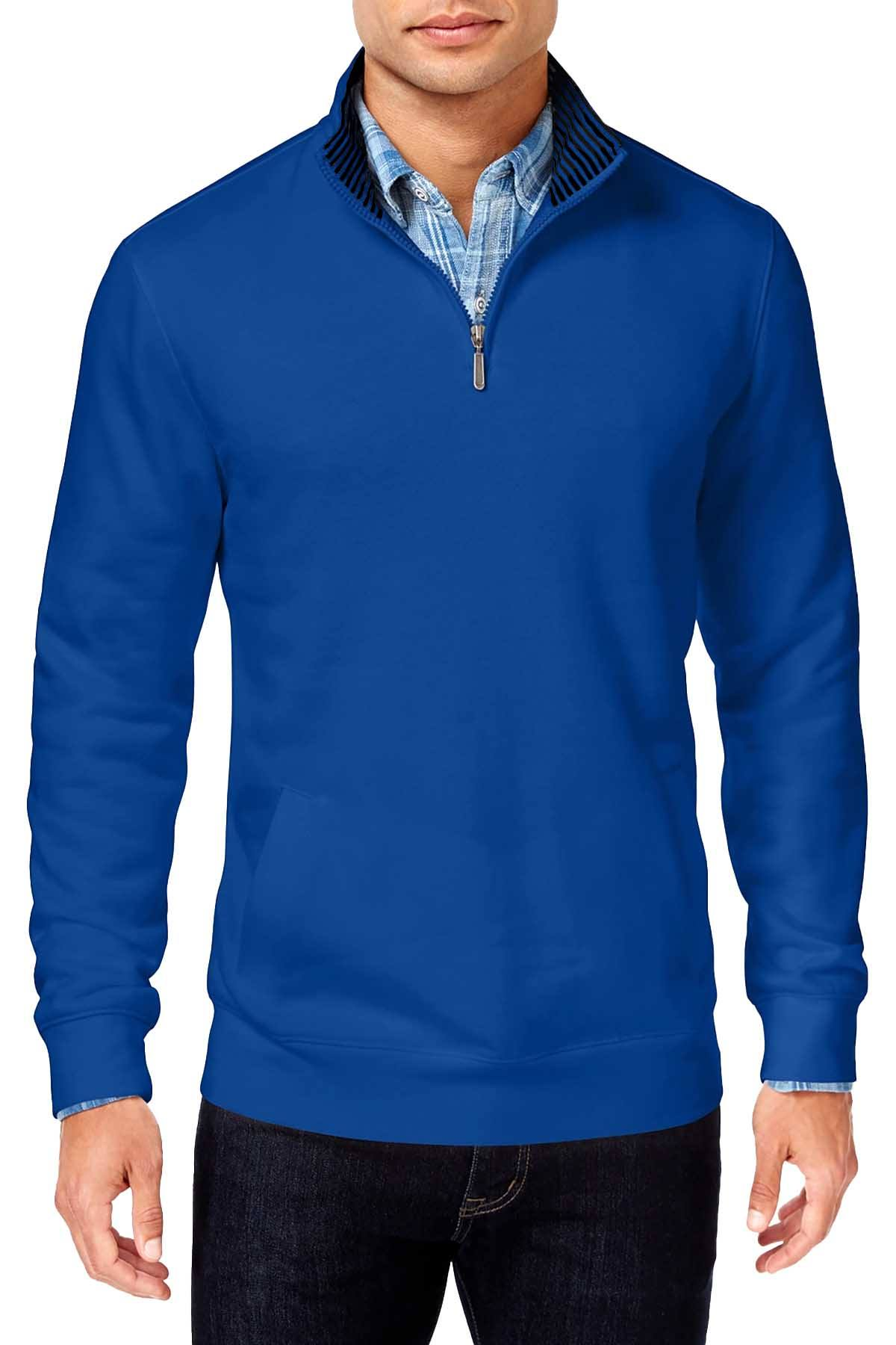 Club Room Lazulite Blue Big/Tall Quarter Zip Pullover