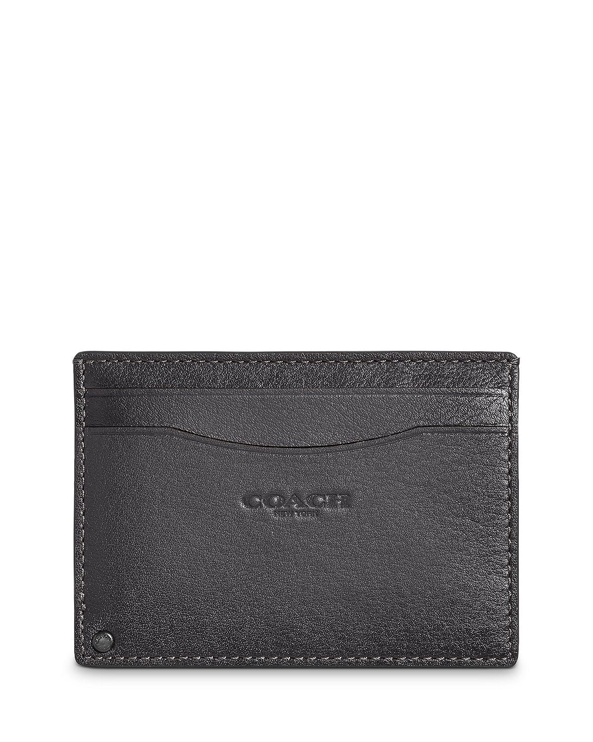 Coach Leather Swivel Card Case Gray/Silver