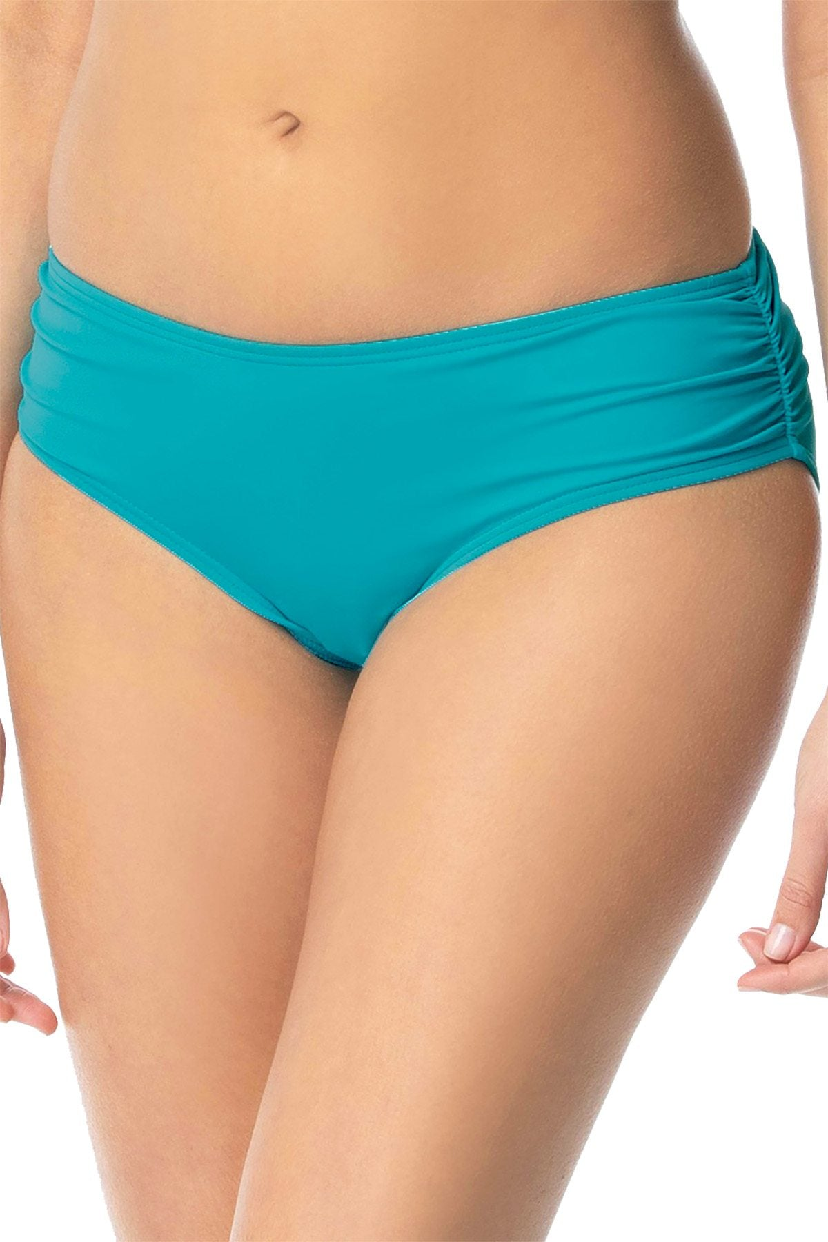 Coco Reef Topaz Teal Ruched Hipster Bikini Bottoms